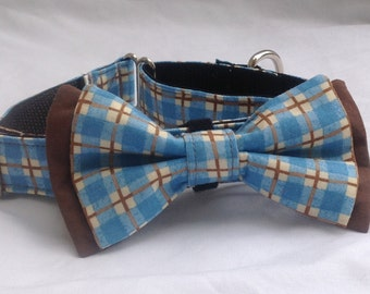 """Martingale Dog Collar Bow Tie 1"""" And 1.5. Blue & Brown Plaid - Size S, M,  L, XL"""