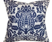 Blue Pillow Throw Pillows Decorative Accent Pillow Cover Damask Pillow Cushion Covers 18x18 inches Designer Fabric