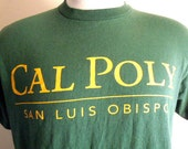 vintage 90s Cal Poly San Luis Obispo dark forest green yellow gold print college university graphic t-shirt crew neck tee made in usa medium
