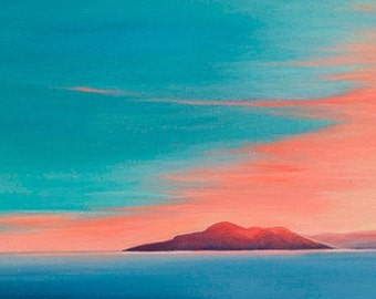Sunset over the Holy Isle, Arran. Fine Art Gift Card 4x4 inches