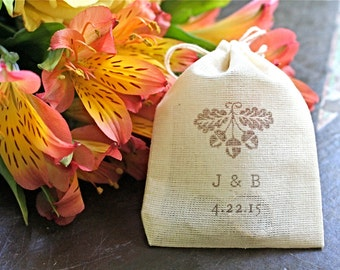 Personalized wedding ring bag. Ring warming, ring bearer accessory.  Autumn fall acorn design with custom initials and wedding date.