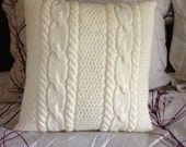 Hand knitted antique white pillow case, pillow not included