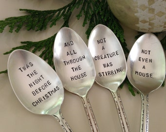 Recycled Silverware Christmas Spoons Hand Stamped   Twas The Night Before Christmas set of 4