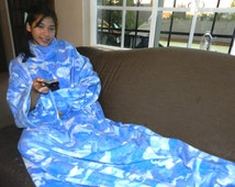 Baby Blue, Blue, White Camouflage Snuggie Style Fleece Blanket w/ Sleeves