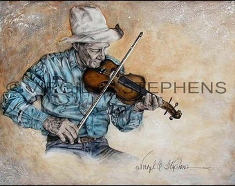 Cowboy Art, Hillbilly Heaven, original oil painting  30 x 40 of a old cowboy playing the fiddle,  Western artwork, fiddle player cowboy