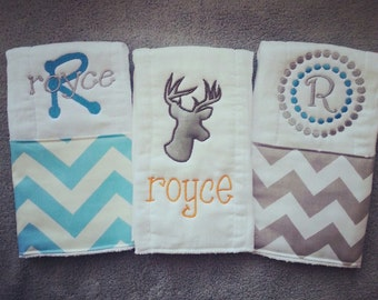 Personalized baby burp cloths - deer