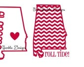 Alabama Decal Chevron Heart  Decal Personalized