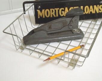 VINTAGE WIRE BASKET - Desk Holder - Organizer - Paper Bin In Out - Industrial Silver Chic - Storage  Decor