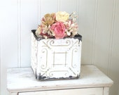VINTAGE CEILING TILE - White Chippy Planter - Caddy -  Wood Bottom - Catch All -  Shabby Cottage Chic - Painted