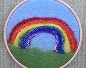 Rainbow - Felted Art, framed in a hoop