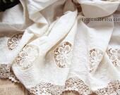 White Cotton Eyelet Border Fabric,  Lace Border Cotton Fabric, Embroidery Fabric Cotton, Hollowed Border lace cotton - A Half Yard