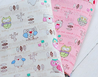 Baby Cotton Fabric Quilting Fabric Baby Owl Singer in the Woods- 1/2 yard
