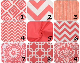 Coral Throw pillow cover ONE coral and white  you choose fabric, chevron gotcha traditions suzani