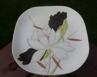 "Red Wing Pottery, Lotus Pattern, Square Dinner Plate  10 1/2"", Circa 1940s"