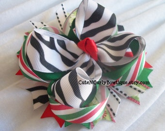 Girls Christmas Hair bow Zebra Bow Red White Black Green Baby Bows Hair Clip Holiday Hair bows for Girls Bows Hair Accessories Handmade Bow