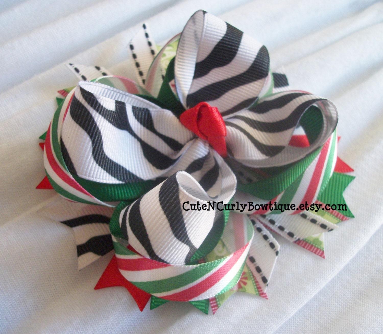 Red Zebra Hair Bows 94