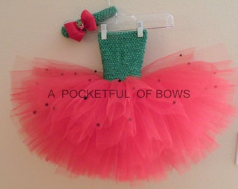 Strawberry Tutu Dress, Watermelon Tutu Dress, Birthday Tutu Dress, Pageant Dress, Toddler Tutu Dress