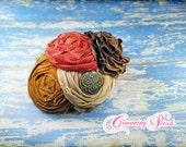 Brown, Rust, Tan Headband, Fabric Flowers Hair Accessories, Beige, Hair Bow, Women's Hair Clip, Fabric Flower Brooch