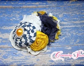 Mustard, Navy Headband, M2M Persnickety Spring 2014, Flower Hair Accessory, Yellow, Blue, Baby, Infant HairBow, Hair Piece, Flower Hair Clip