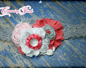 Coral, Grey, White Headband, Coral Flower Hair Accessory, Gray, Baby Hair Bow, Coral Hair Clip, Fabric Flowers, Hair Piece, Coral Hairbow