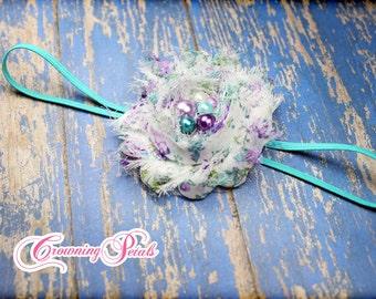 Single Shabby Chiffon Flower Headband, Shabby Flower Hair Bow, Pick color, Individual Shabby Flower Hair Clip, Shabby Trim Hair Accessory