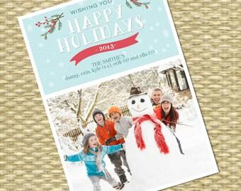 Christmas Photo Card, Printable Christmas Card, Custom Christmas Card - Whimsical Winter Snowflake2