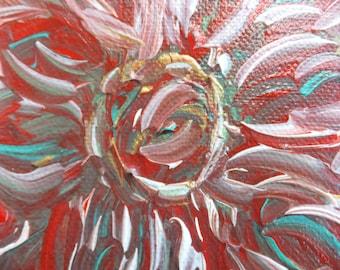 Deep Red Flower Original Painting