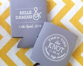 Tied the Knot Wedding can coolers, Nautical wedding favors, Anchor wedding coolies, tie the knot cold beer holder