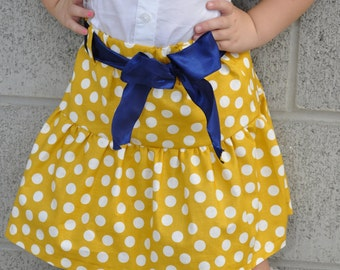 Ruffle Mustard Color Polkadot Skirt with Navy Ribbon Belt