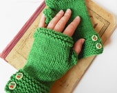 Emerald Green Fingerless Mitts Gloves Hand Knit Organic Merino Wool Women's Medium Large