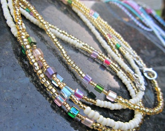 Glitzerland Waistbeads - Handmade Gold, Ivory, and Multi Color Double Strand Set or Necklace