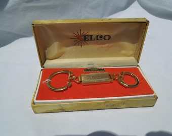 Elco Gold Electroplated Key Ring Keychain, inscribed JACK, 1960s