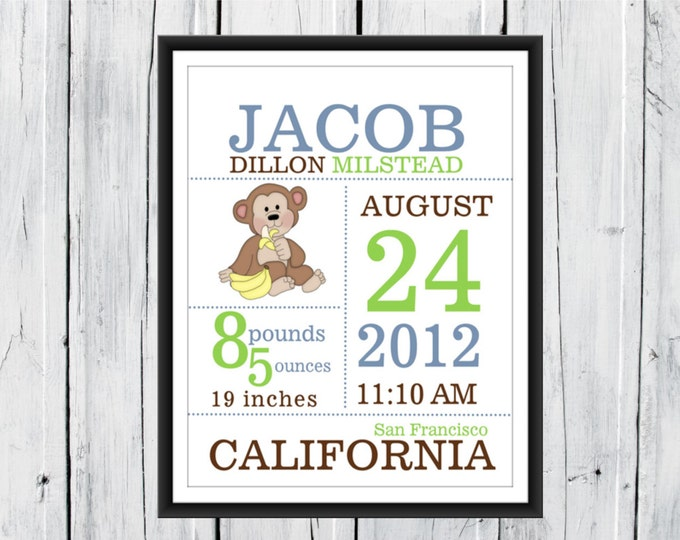 Baby Boy Birth Announcement  Print Monkey Theme