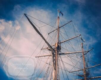 Schooner Mast Photo. Boat Photo. Schooner Photo. Blue. Wispy Clouds. White. Nautical Home Decor. Nautical. Wood. Fine Art Photography