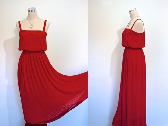 Red Dress / Vintage Party Dress / Dress Maxi Gown / New Year's Eve / Christmas