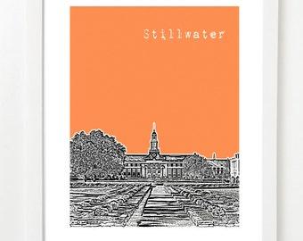 Stillwater Oklahoma Art Print - Stillwater Skyline Poster - Stillwater Poster -