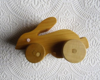 Vintage Easter Toys - Handmade Wood Toys, Rabbit and Duck on Wheels, Easter Gift, Easter Decor