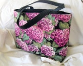 Project Bag Knit Crochet Yarn Tote Pink Hydrangea Medium to Small Project Zip Notions Bag
