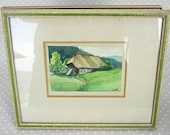 Vintage Small Framed Signed Water Color Hand Painted Home Mountain Scene Painting- Kath