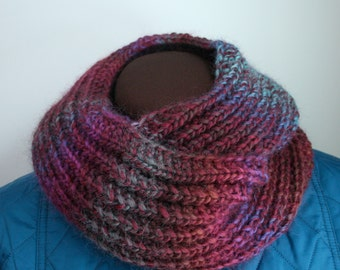 Womans Burgundy Cowl hand knit in Wool