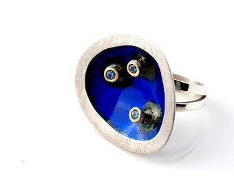 SALE - Bold modern statement ring, Sterling Silver,Gold, Blue Zircons, Enamel