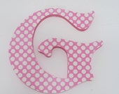 "Pink & White Polka Dot Wooden Nursery Letters, Girls Wall Art, Wall Decor, Baby Room, Nursery Art, Wooden Decor, Baby Shower gift 7"""
