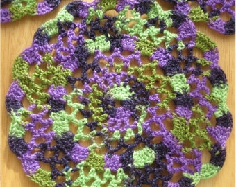 Purple and Green Crochet Doily
