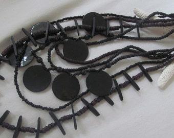 vintage brown, black shell necklace