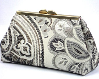 Silver Grey Clutch Purse, Wedding Bridesmaid Frame Clutch, Gift, Evening Bag @ WhiteCross Designs in USA Ready to Ship