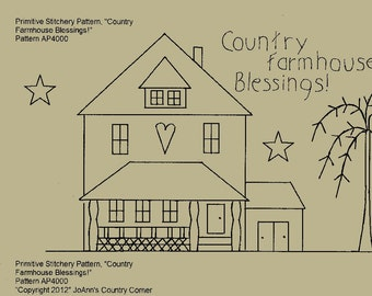 "Primitive Stitchery E-Pattern, ""Country Farmhouse Blessings."""
