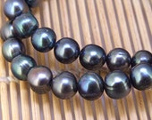 One Full Strand--- Luster Black Pearl Pure Freshwater Pearl----8-9mm or 10-11mm----16""