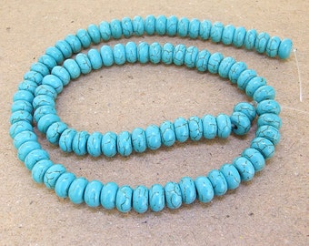 One Full Strand--- Rondelle Turquoise HeiShi Turquoise Gemstone Beads ----6mmx 10mm---- 70 Pieces----16 inch strand