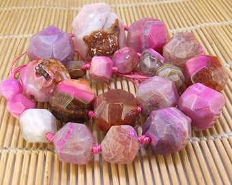 "Full Strand Knotted Faceted Pink Tower Agate Beads ----- 10mm -30mm----- about 21Pieces ----- gemstone beads--- 19"" in length"