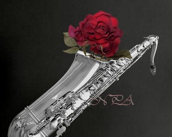 Musical Instrument Photograph Black and White Saxophone with Red Rose Matted Picture Art Print A508